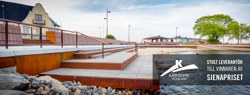 Kärnsund Wood Link - Stolt leverantör av Azobe hårdträ till Tullhusstranden i Simrihamn, vinnaren av Sienapriset 2016.