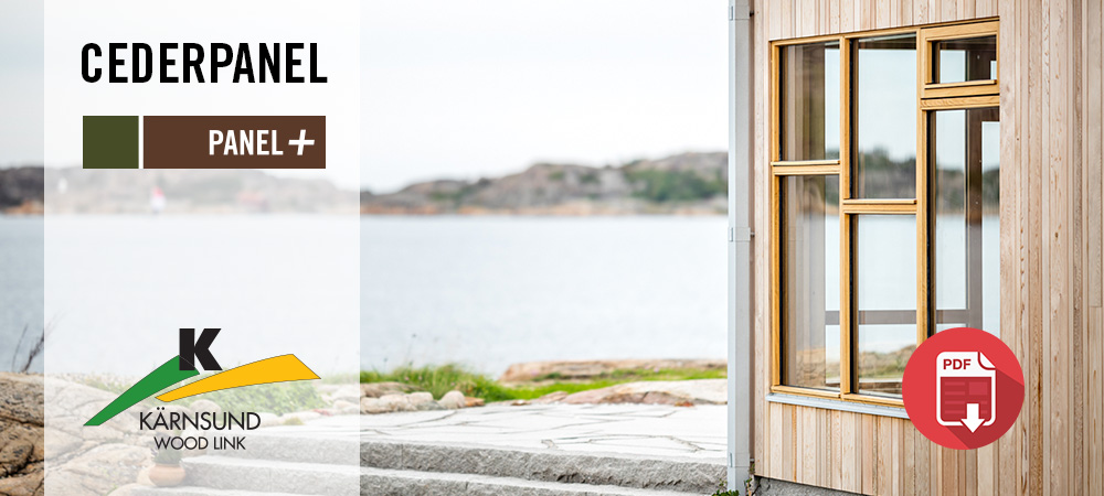 Projektbilder med cederpanel i kundanpassat format från Kärnsund Wood Link AB.
