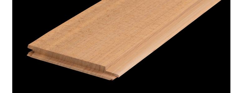 Rakkantad ändspontad cderpanel 17,5x140 mm. Kärnsund Wood Link.
