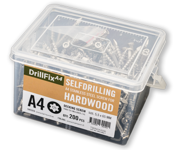 DrillFix A4 självborrande trallskruv för hårdträ.