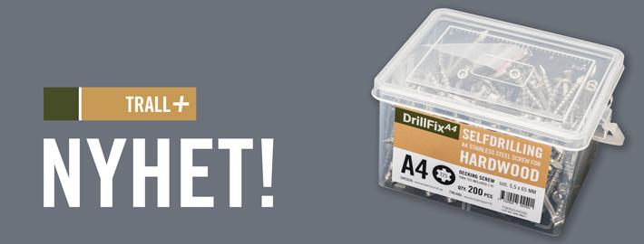 DrillFix A4 självborrande trallskruv för hårdträ, hardwood.
