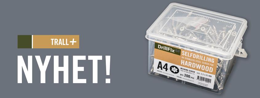 DrillFix A4 självborrande, rostfri och syrafast trallskruv för trallvirke i hårdträ.