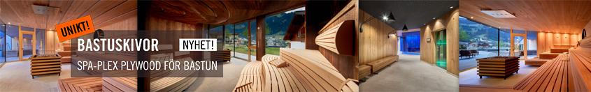 Bastuskivor, SPA-Plex fanerad plywood för bastu från Kärnsund Wood Link.