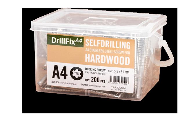 DrillFix A4 Rostfri självborrande skruv för trall i hårdträ, Kärnsund Wood Link